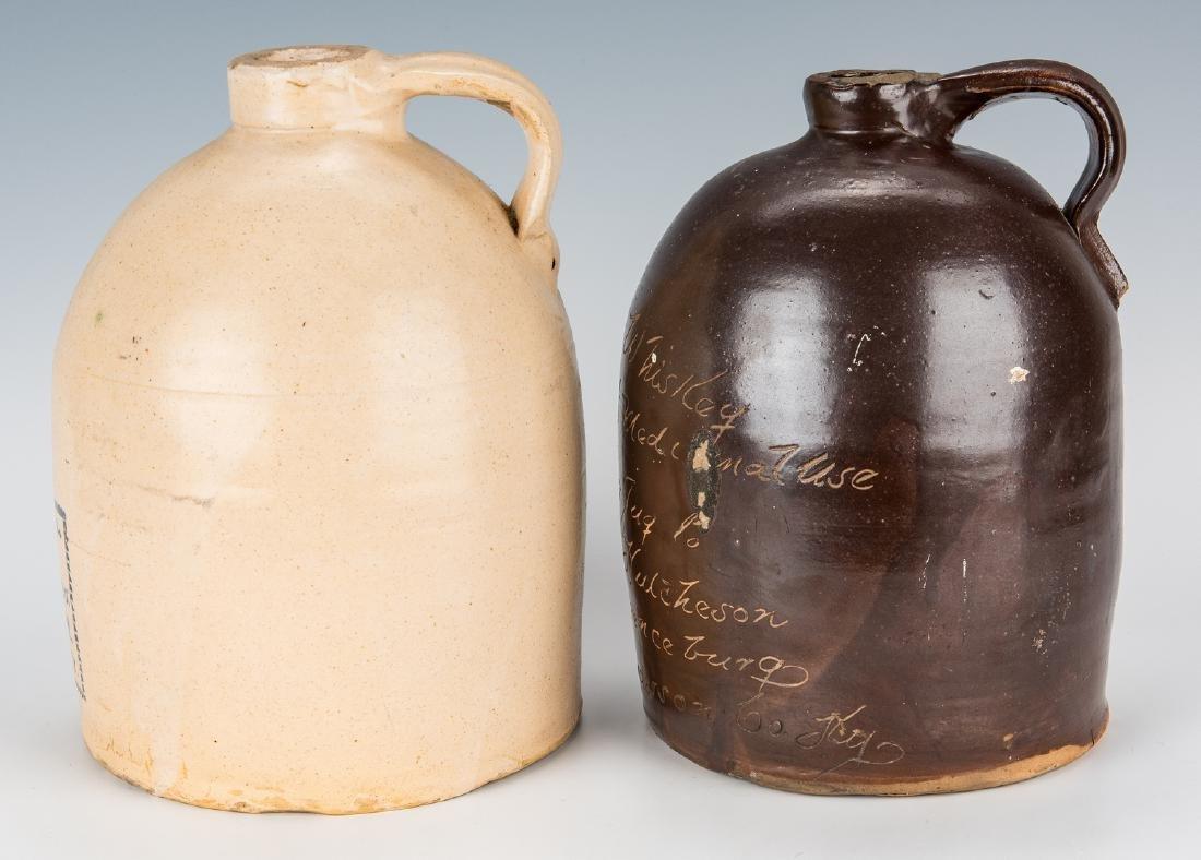 2 Kentucky Stoneware Whiskey Advertising Jugs - 4