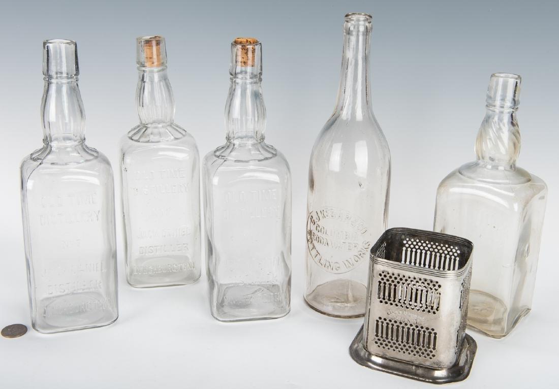3 Jack Daniels Whiskey Bottles, Silverplate Holder & 2