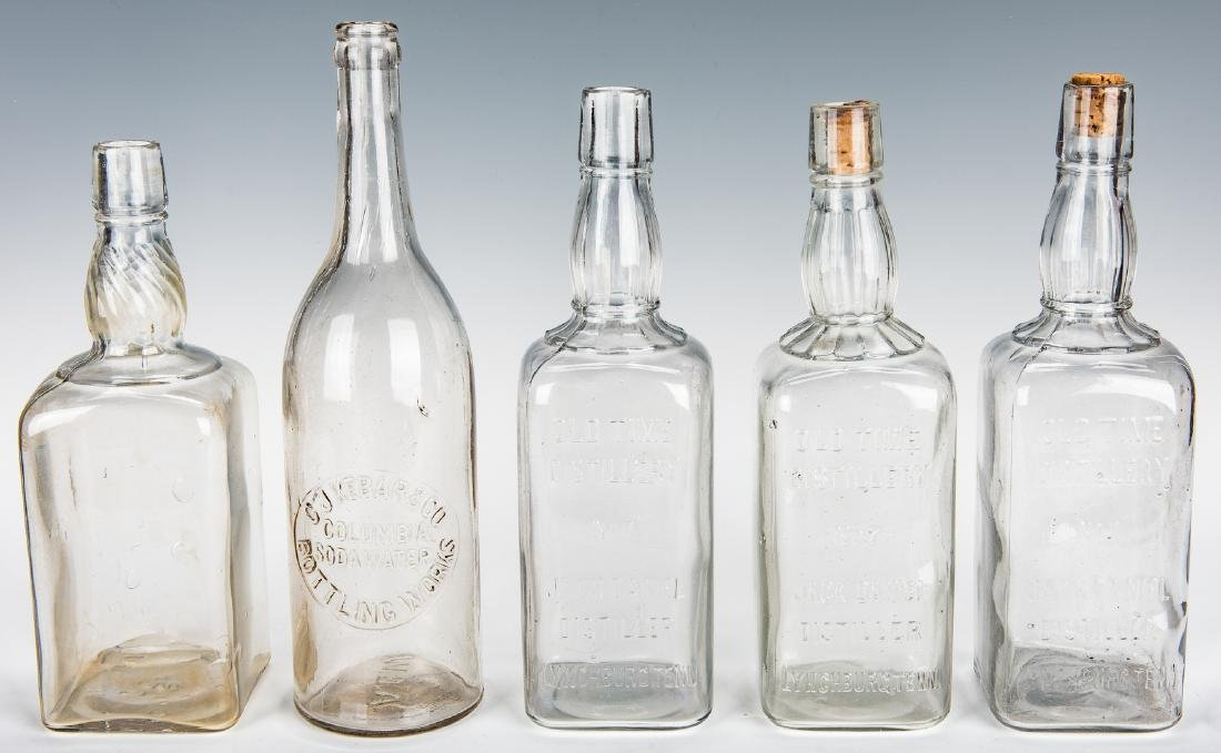 3 Jack Daniels Whiskey Bottles, Silverplate Holder & 2 - 5