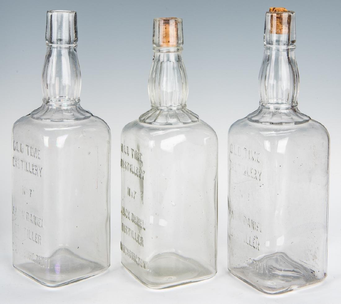 3 Jack Daniels Whiskey Bottles, Silverplate Holder & 2 - 6