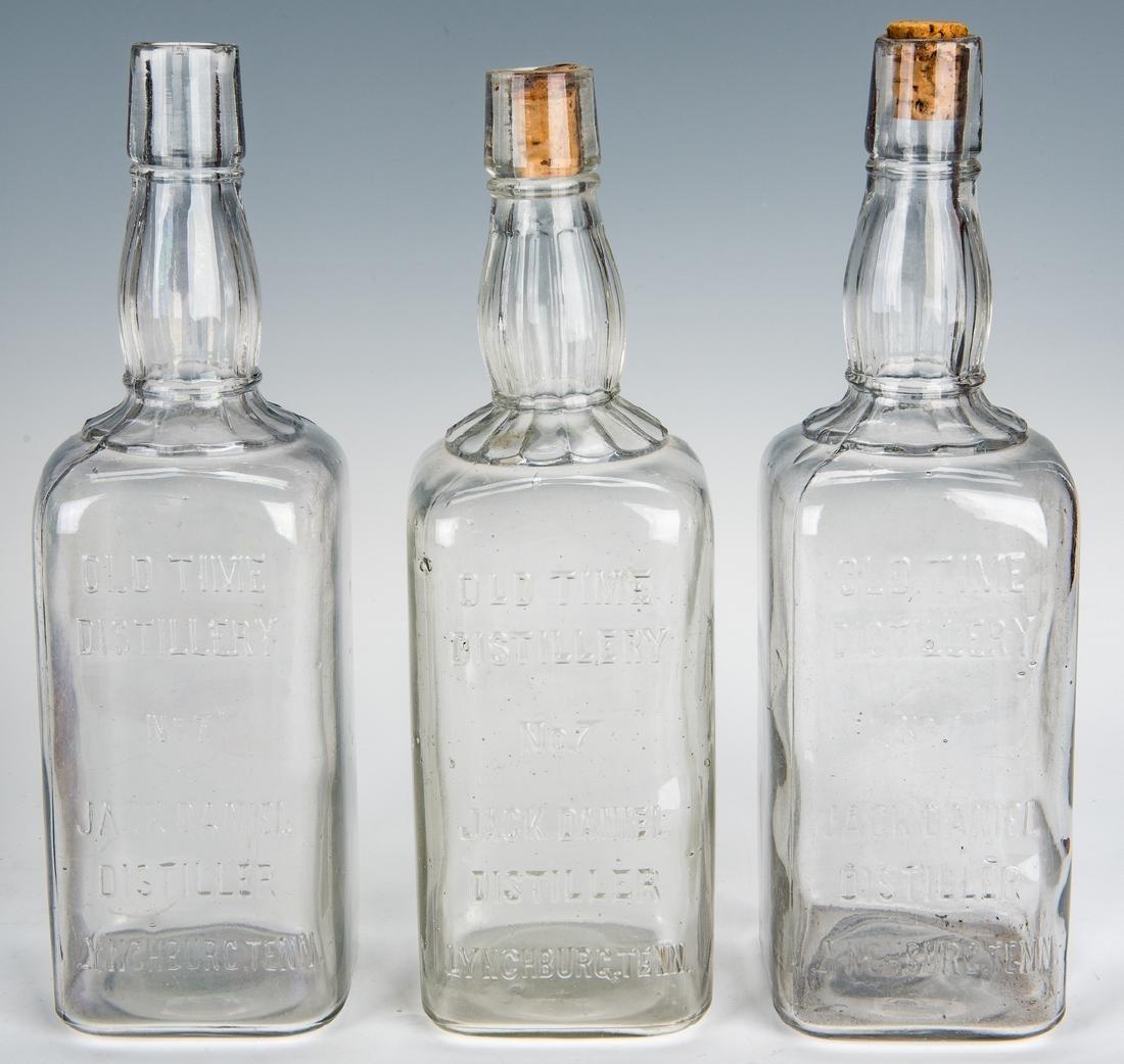 3 Jack Daniels Whiskey Bottles, Silverplate Holder & 2 - 7