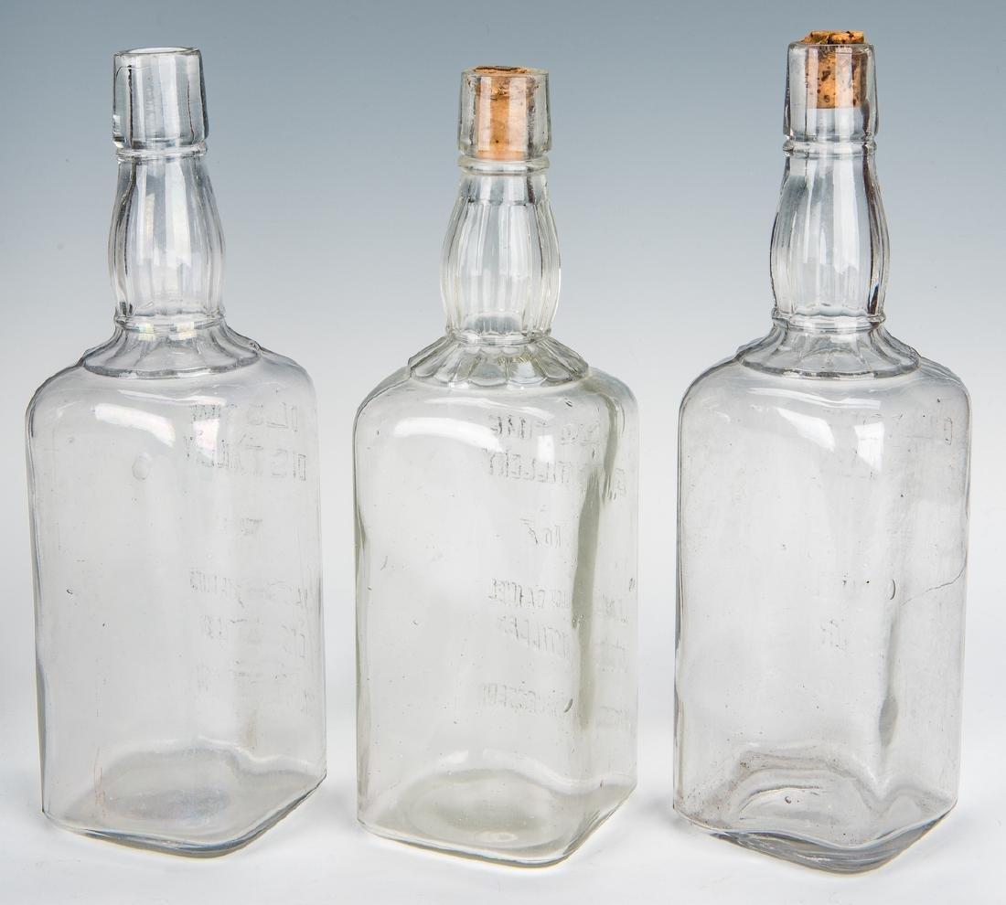 3 Jack Daniels Whiskey Bottles, Silverplate Holder & 2 - 8