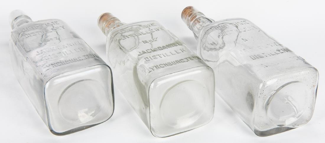 3 Jack Daniels Whiskey Bottles, Silverplate Holder & 2 - 9
