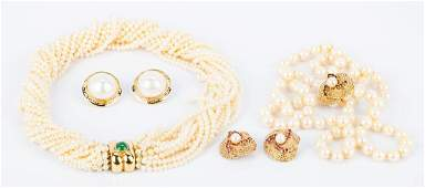 Group Gold and Pearl Jewelry