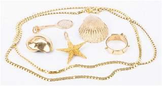 14K Jewelry incl. Seashells, 6 items