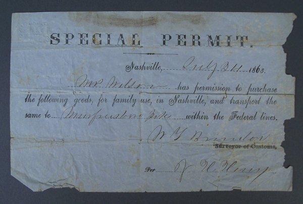 Civil War Special Permit, Nashville 1863
