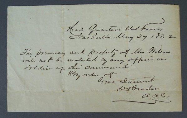 Civil War Permit Nashville 1862