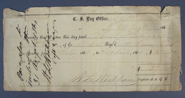 Confederate payment statement  A. W. Harris, 1864
