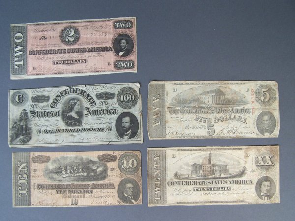 Confederate bank notes, total of 5