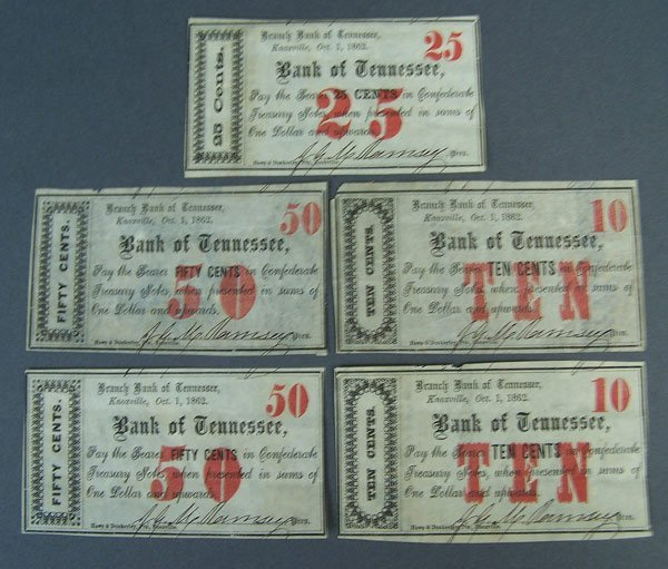 Fractional Confederate Bank of Tennessee notes, 5