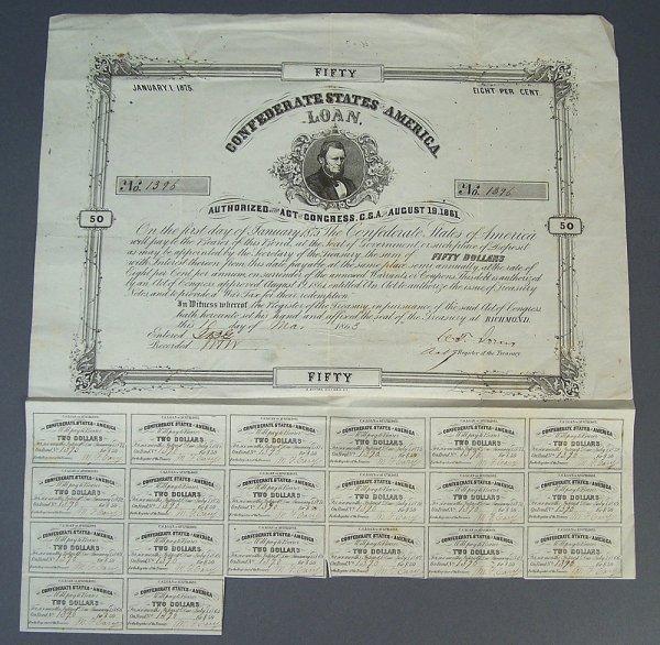 Confederate States of America $50 bond, March 1863
