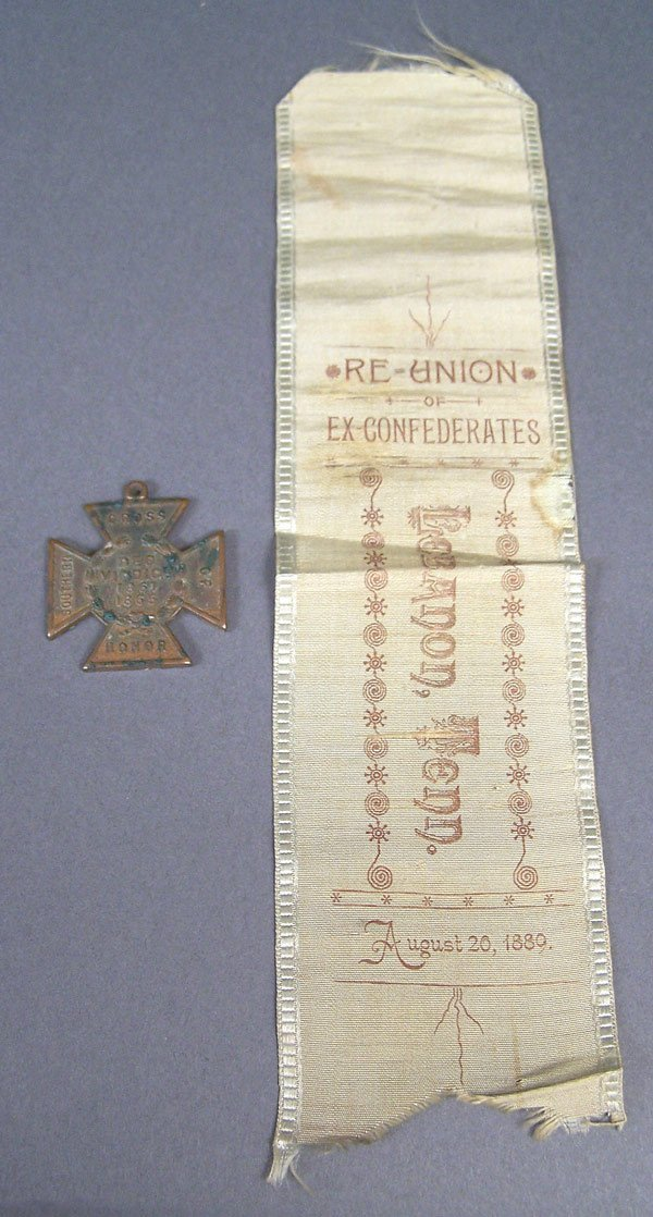 Ex-Confederate reunion ribbon and Confederate cross
