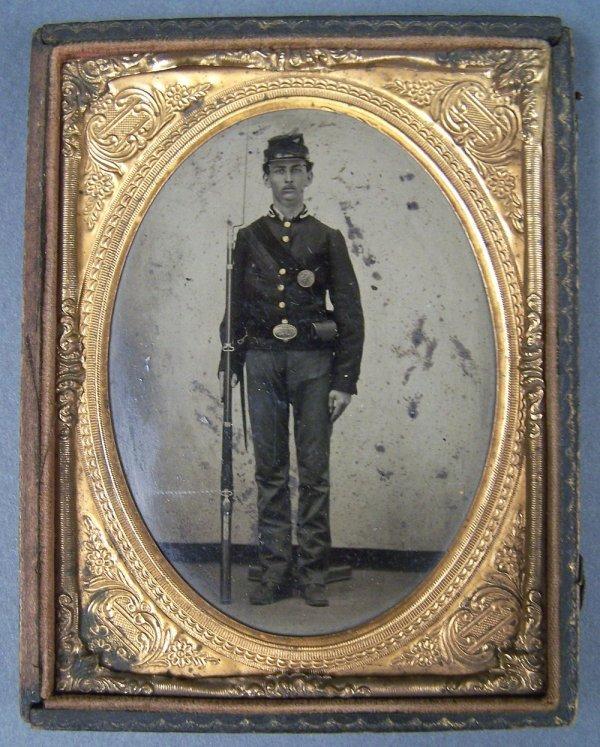 Tintype of Union soldier, Civil War era letter