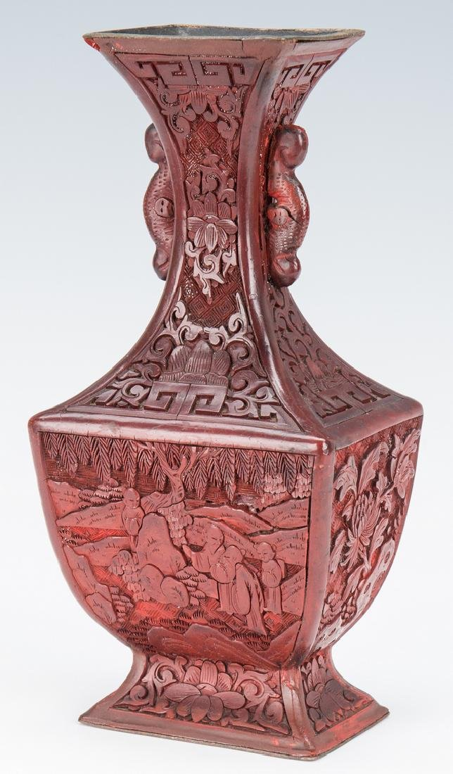 Cinnabar Vase, Box, Snuff Bottles, 4 items - 2