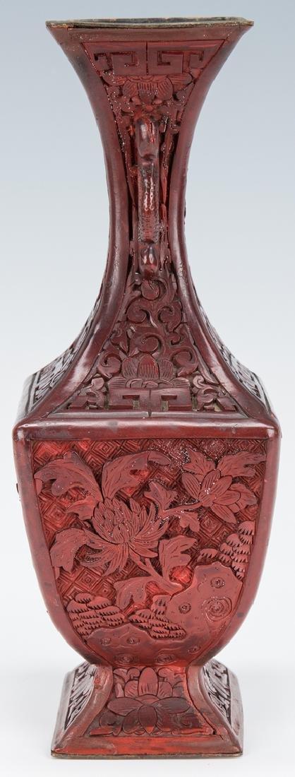 Cinnabar Vase, Box, Snuff Bottles, 4 items - 3