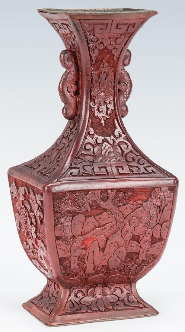 Cinnabar Vase, Box, Snuff Bottles, 4 items - 4