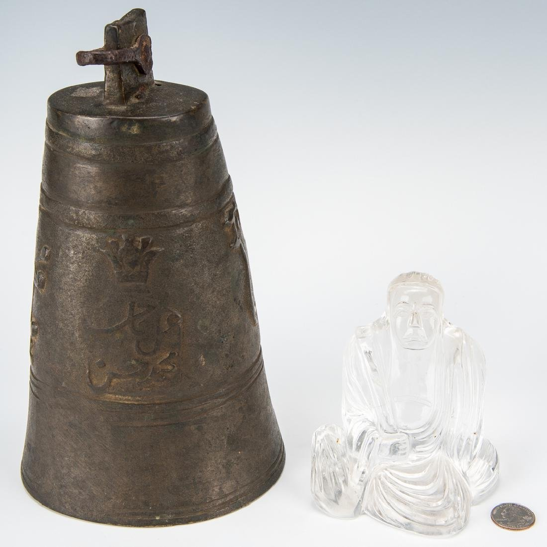 Asian Bronze Bell, Rock Crystal Buddha & Chinese Carved - 9