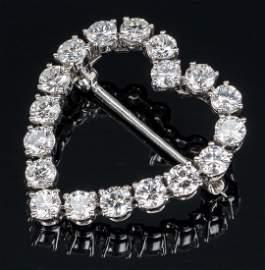 Tiffany Diamond Heart Brooch plus Pearl Pin