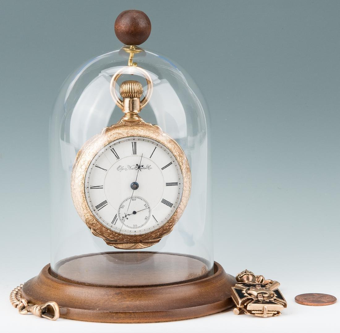 Elgin pocket watch; 10k Masonic pendant