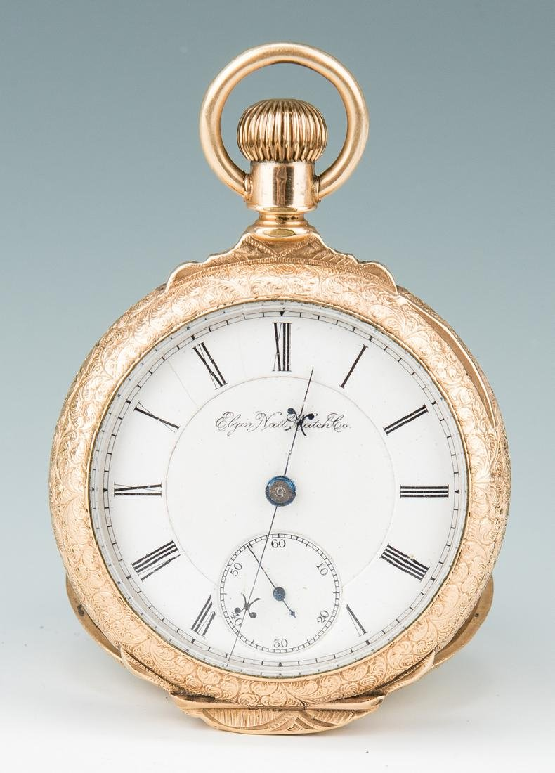 Elgin pocket watch; 10k Masonic pendant - 2