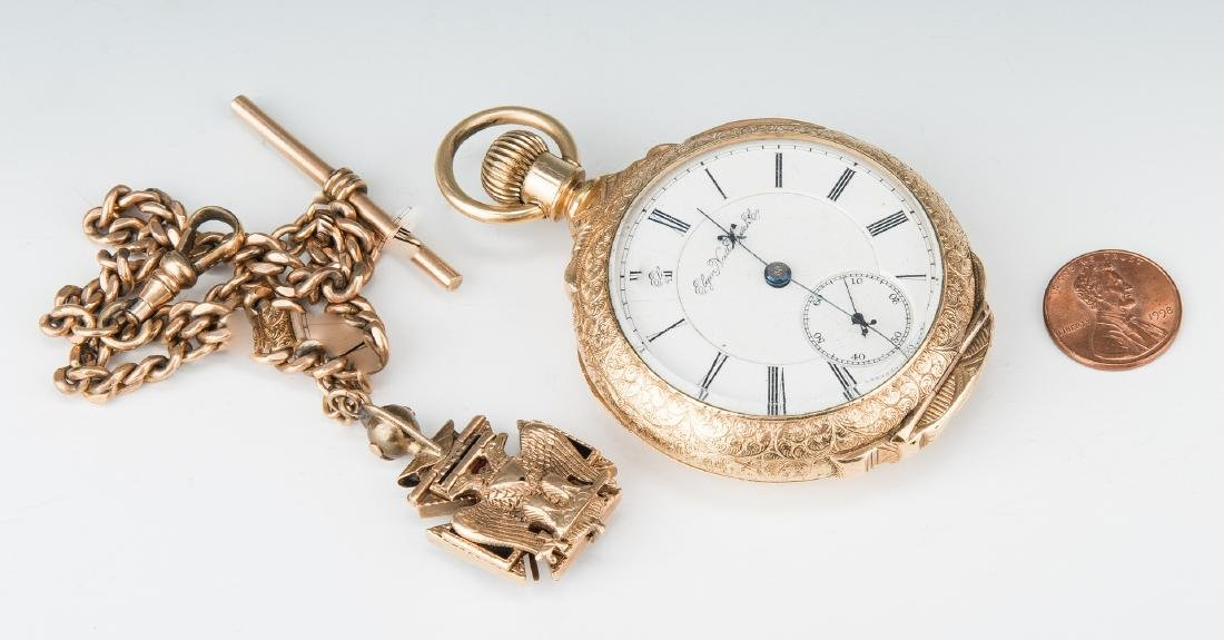 Elgin pocket watch; 10k Masonic pendant - 3