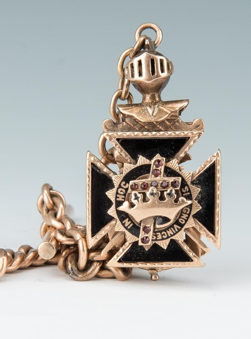 Elgin pocket watch; 10k Masonic pendant - 4