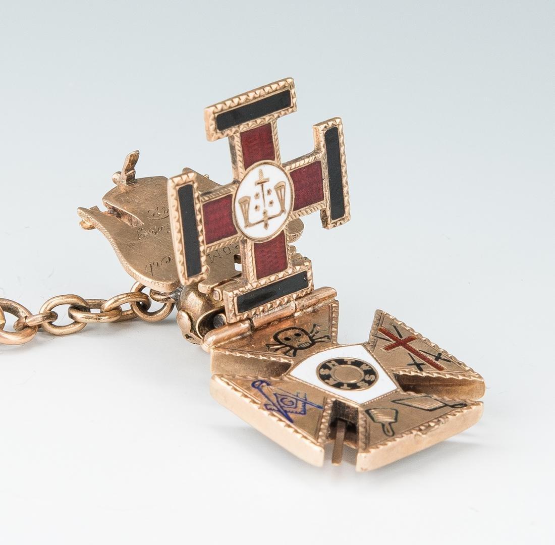 Elgin pocket watch; 10k Masonic pendant - 5