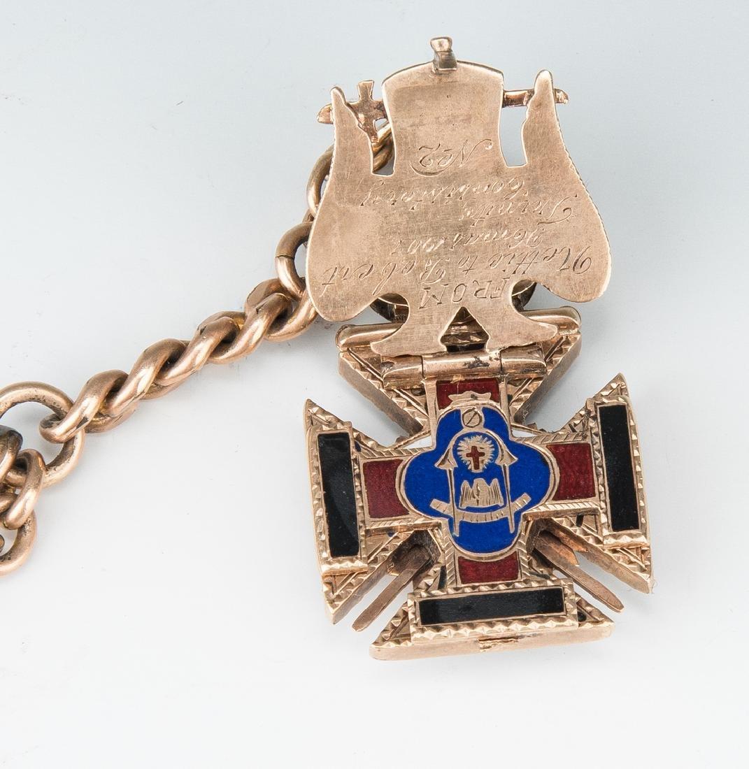 Elgin pocket watch; 10k Masonic pendant - 6