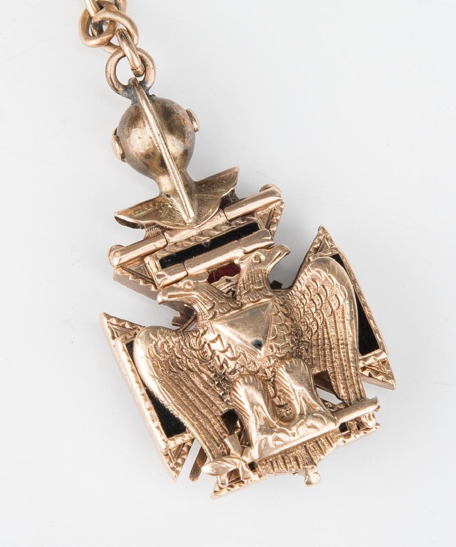 Elgin pocket watch; 10k Masonic pendant - 7