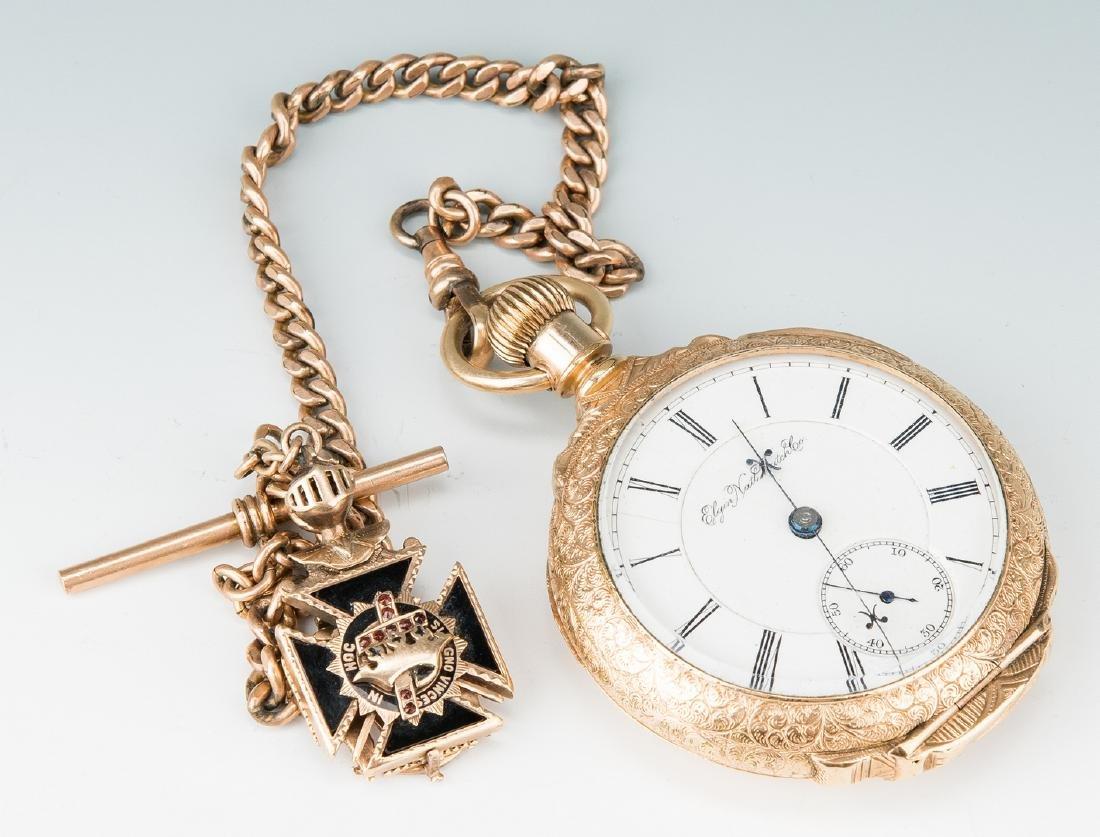 Elgin pocket watch; 10k Masonic pendant - 8