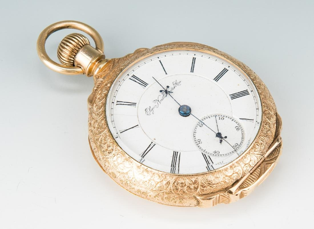 Elgin pocket watch; 10k Masonic pendant - 9