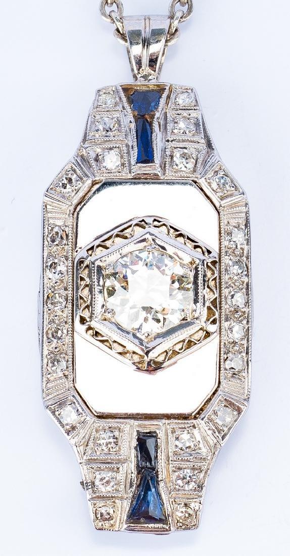 Art Deco 1 ct OMC Diamond Pendant