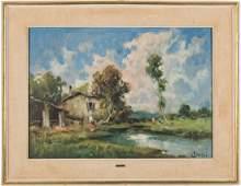 European School, 20th c. Landscape Oil