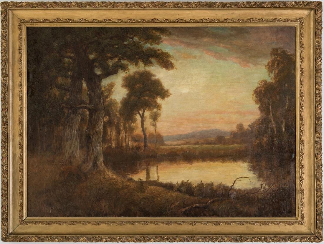 American School O/C, Deer at Pond Landscape