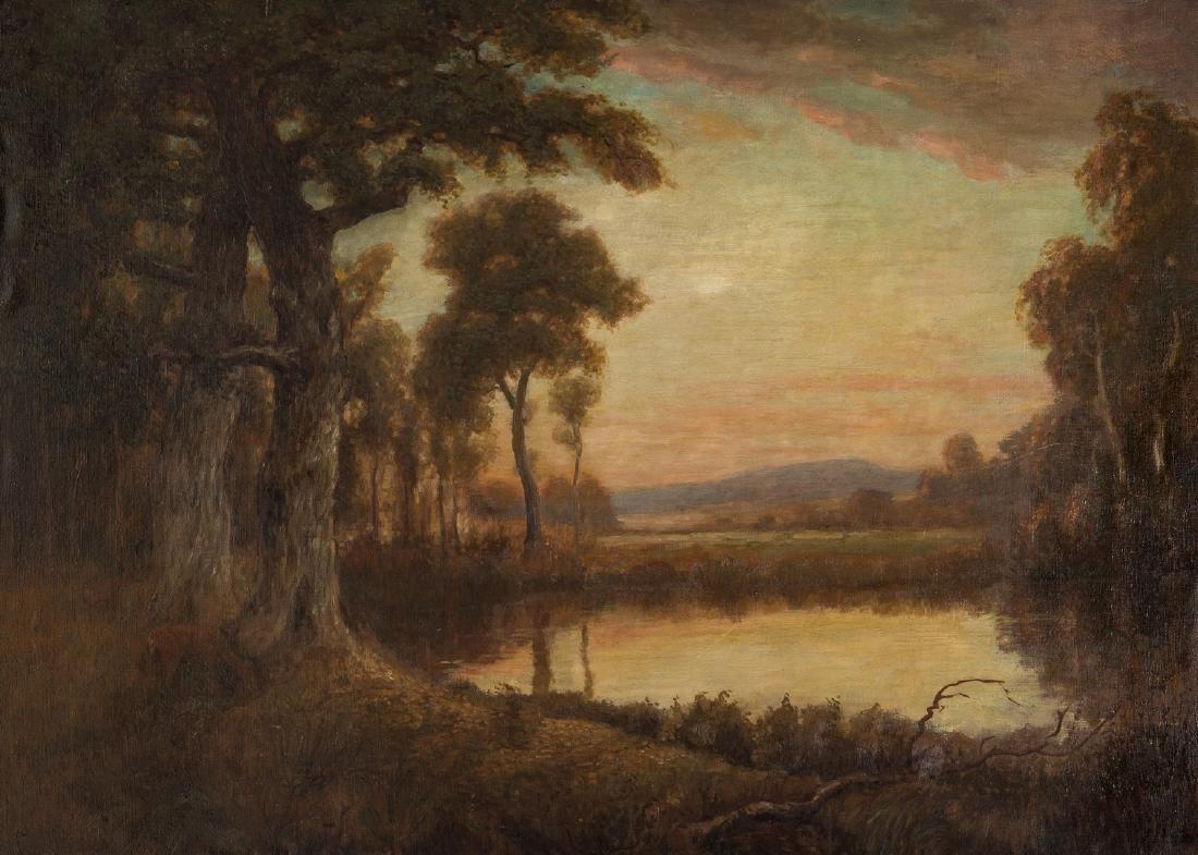 American School O/C, Deer at Pond Landscape - 2