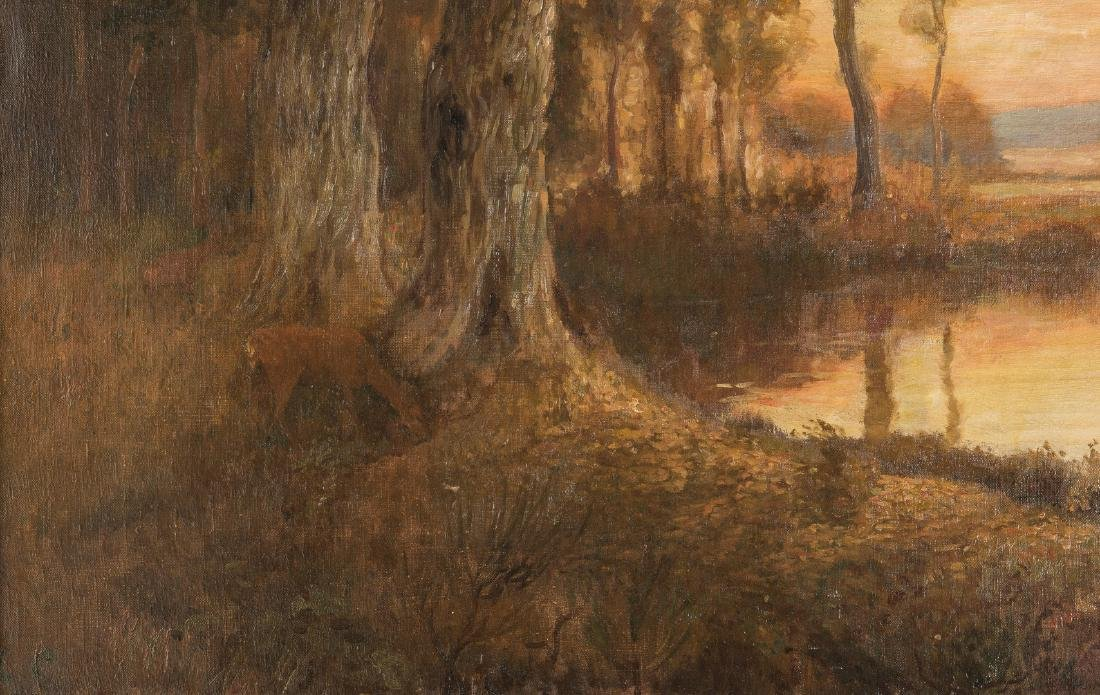 American School O/C, Deer at Pond Landscape - 5