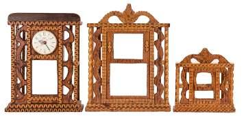 3 Howard Finster Folk Art Shelf Clock Cases
