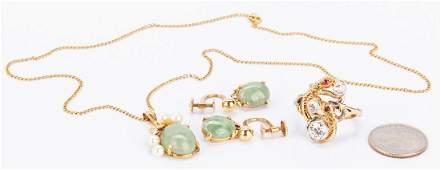 14k Dragon Diamond Ring w/ Jade Jewelry