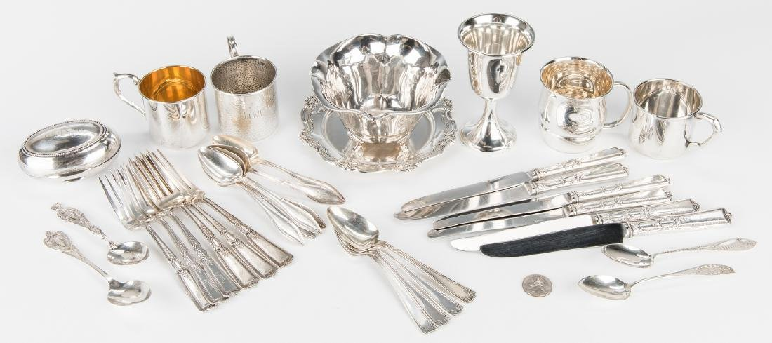 Group Sterling Silver Tableware & Flatware, 34 Pcs.