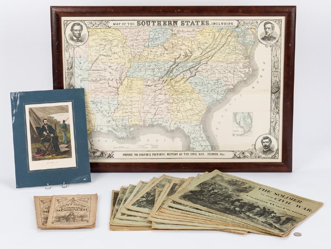 21 Civil War Related Paper Items, including Harper's