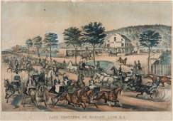 Currier  Ives Fast Trotters on Harlem Lane 1870