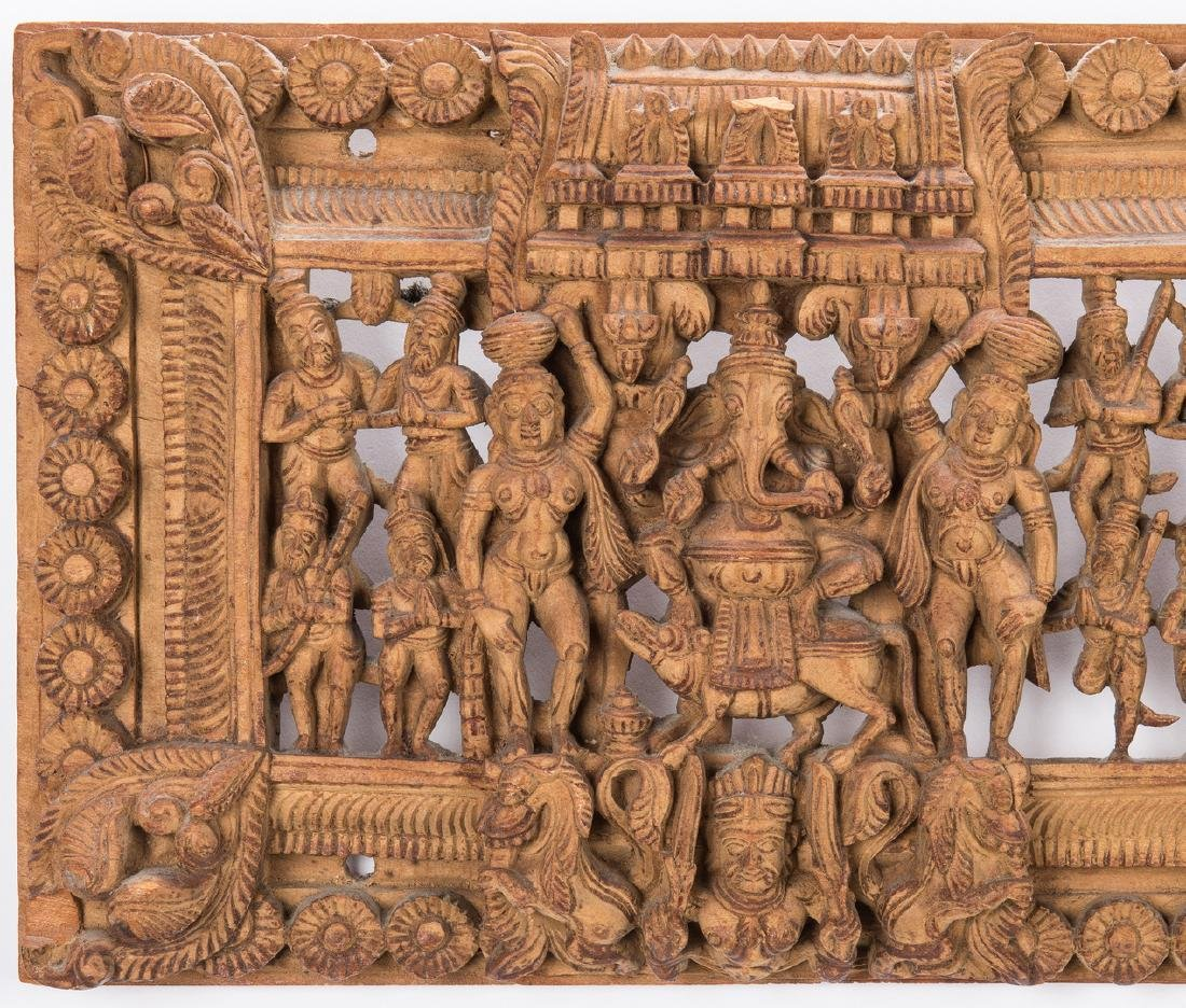2 Carved Wood Asian Temple Panels - 10