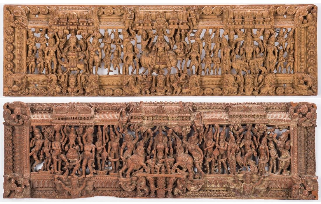 2 Carved Wood Asian Temple Panels