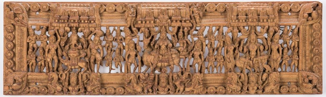 2 Carved Wood Asian Temple Panels - 2