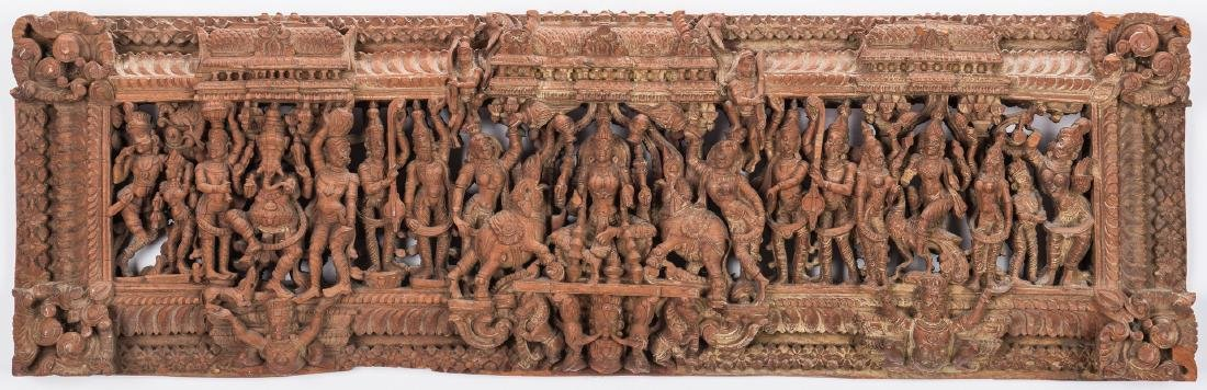 2 Carved Wood Asian Temple Panels - 3