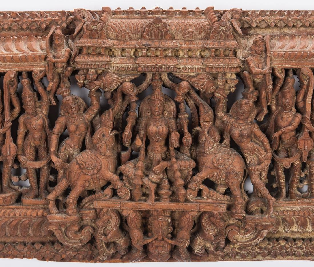 2 Carved Wood Asian Temple Panels - 5
