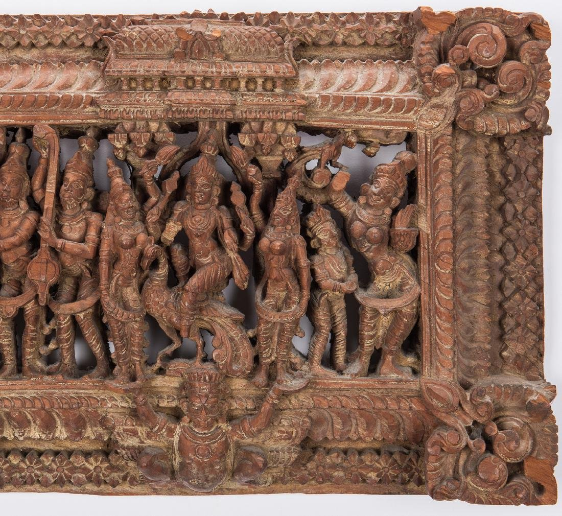 2 Carved Wood Asian Temple Panels - 6