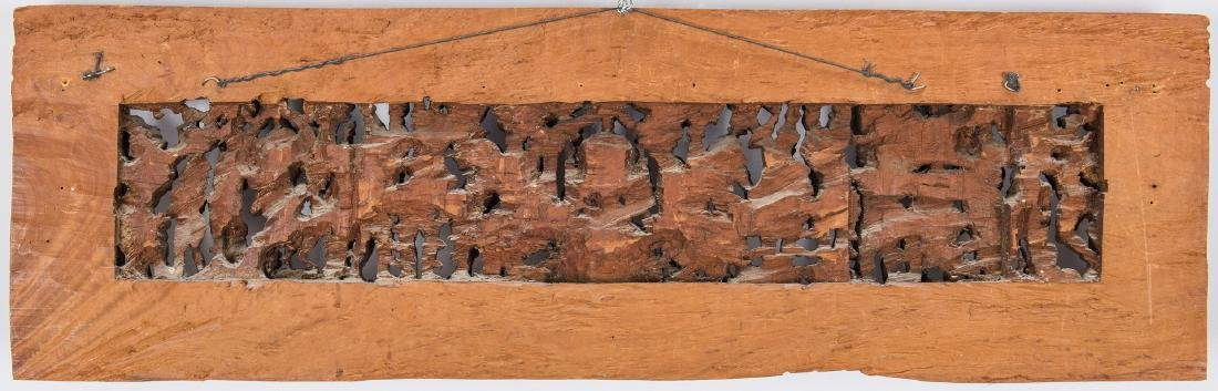 2 Carved Wood Asian Temple Panels - 7
