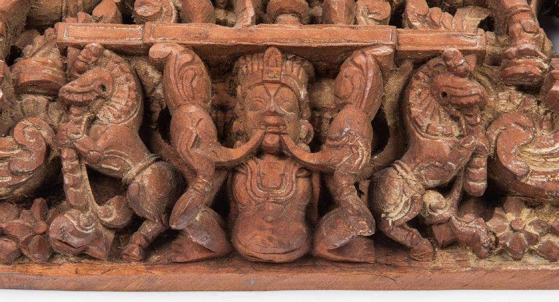 2 Carved Wood Asian Temple Panels - 9