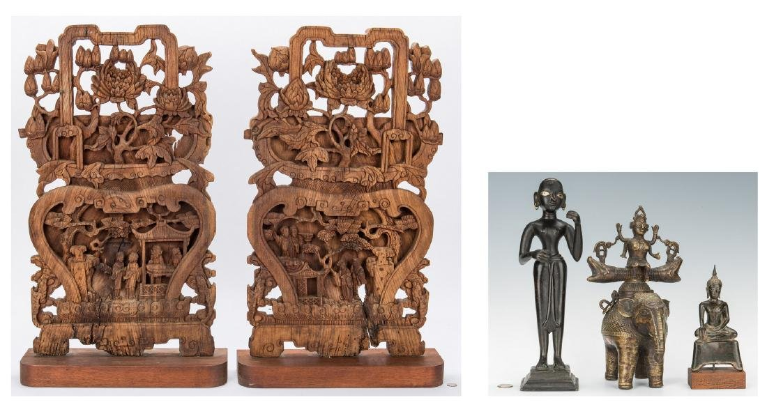 5 Asian Items, Bronze Religious Figurals, Chinese Wood